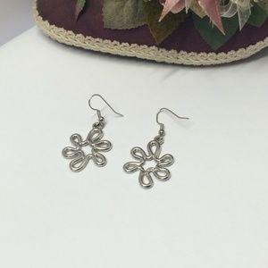 Fun silver tone dangle earrings